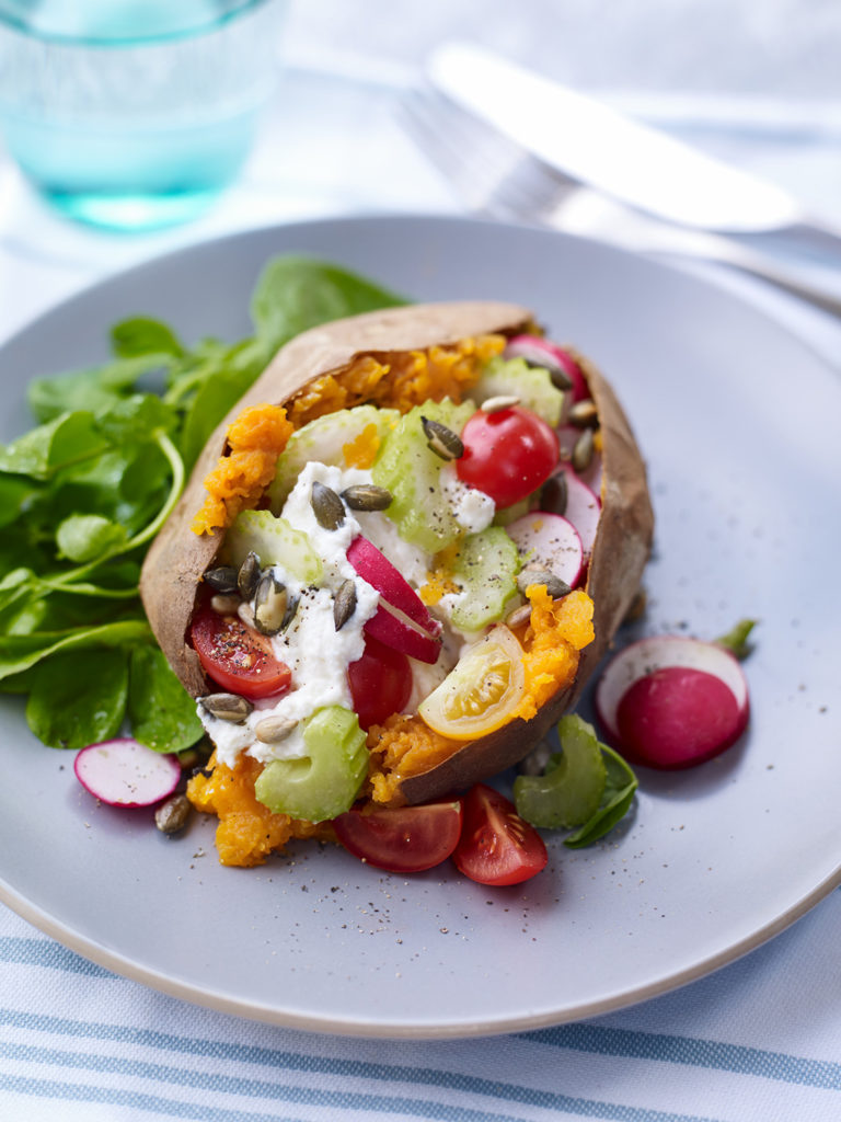 Baked Sweet Potato Topped with Ricotta, Celery and & Radish