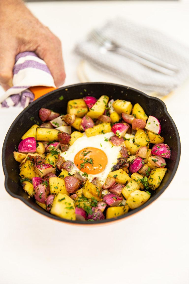 Radish & Parsnip Hash with Fried Egg