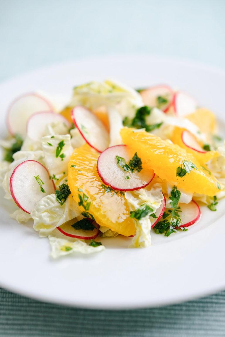 Radish and Citrus Chinese Leaf Salad