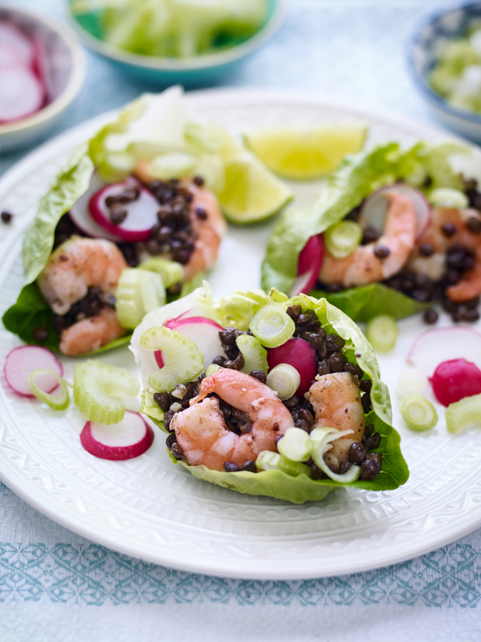 Prawn, Radish and Celery Lettuce Cups