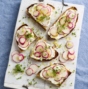 Cream Cheese and Radish on Sourdough Toast