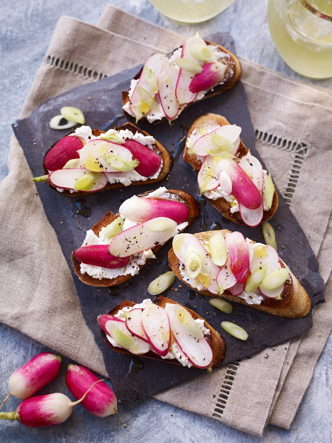 Goats' Cheese Crostini with Spring Onion & Radish