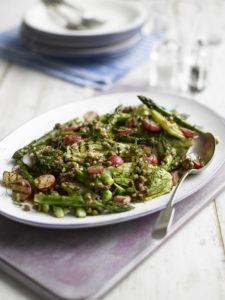 Grilled Radishes, Fennel and Asparagus Salad with a Caper Dressing