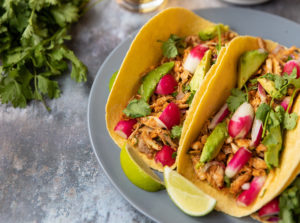 Mexican pulled chicken wraps with Radish and Avocado Salsa