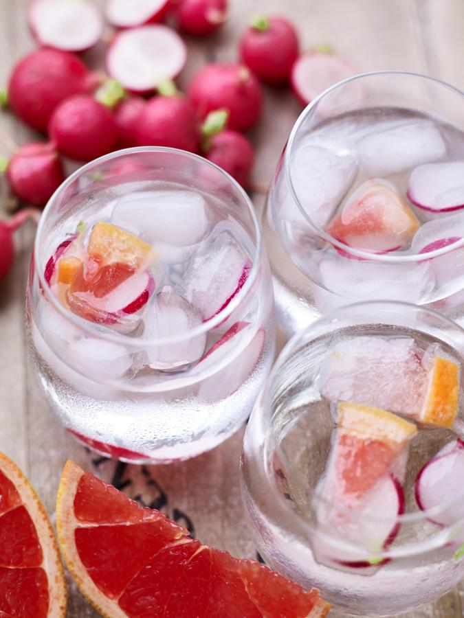 Radish & Grapefruit Ice Cubes for Gin & Tonic