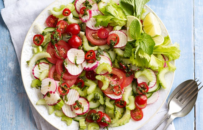 Radish, Celery and Tomato Salad with Chilli, Mint and Lime Dressing