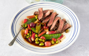 Rare Rump Steak with Radish, Asian Greens, Chilli and Soy