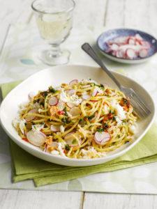 Spaghetti with Crab, Lemon, Chilli, Parsley and Radish Shavings