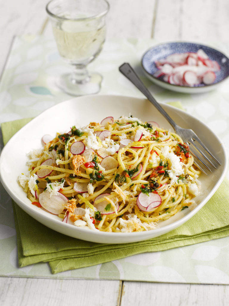Spaghetti with Crab, Lemon, Chilli, Parsley and Radish Shavings